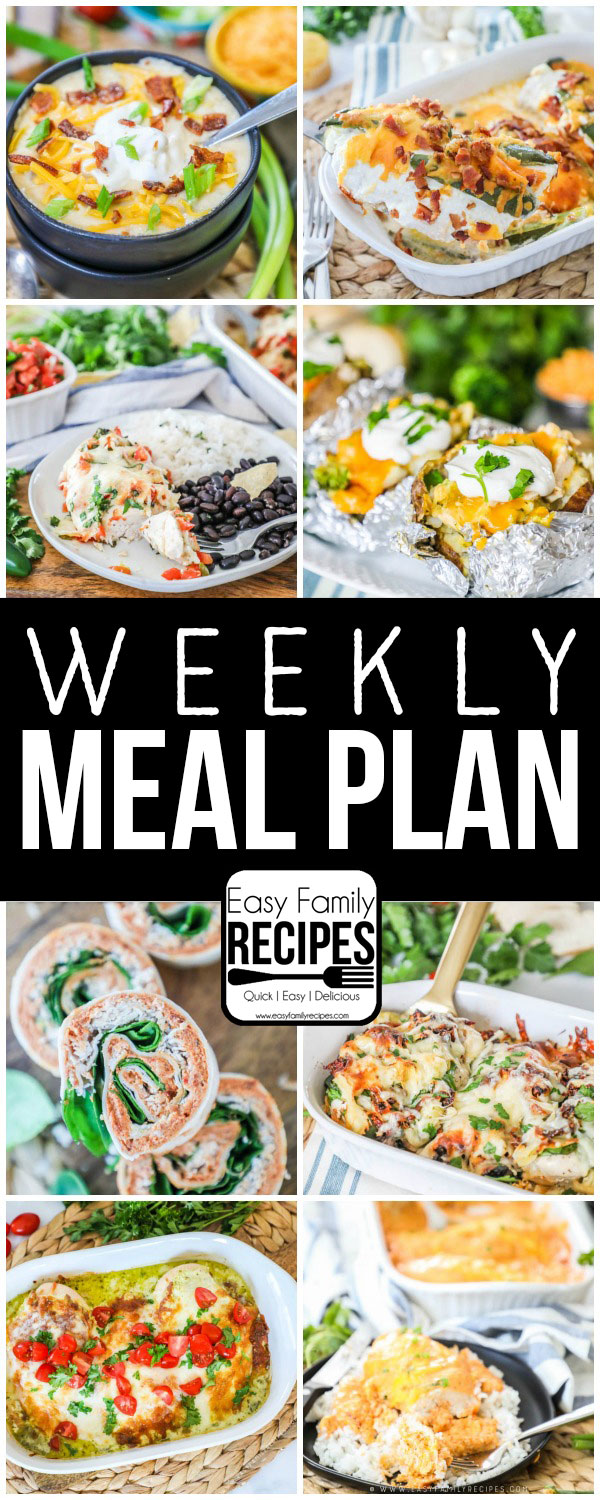 Weekly Meal Plan Easy family meals, Healthy weekly meal