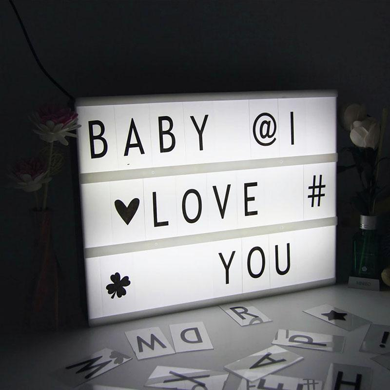 A5 Cinematic Light Up Emoji Letter Box Sign DIY Message Board Party Wedding Deco