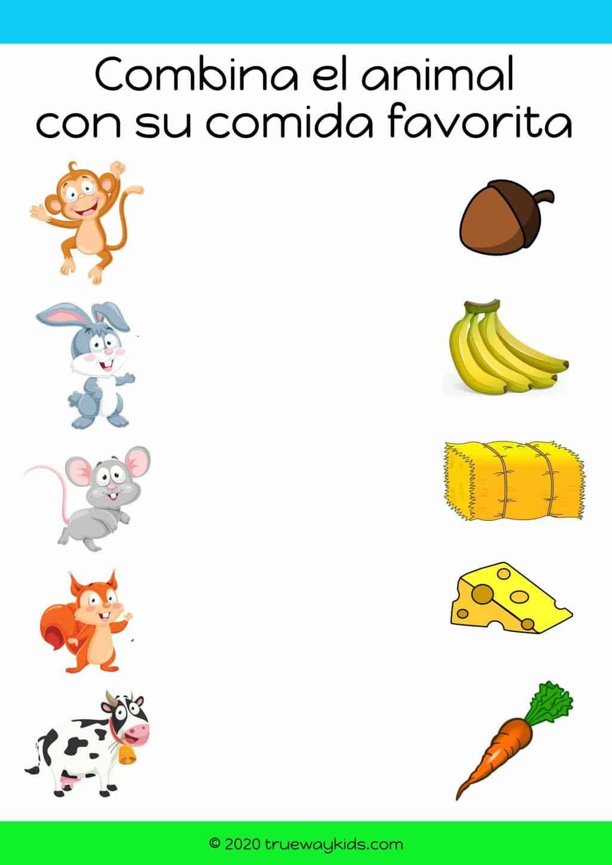 Combina Los Animales Con Su Comida Favorita Hoja De
