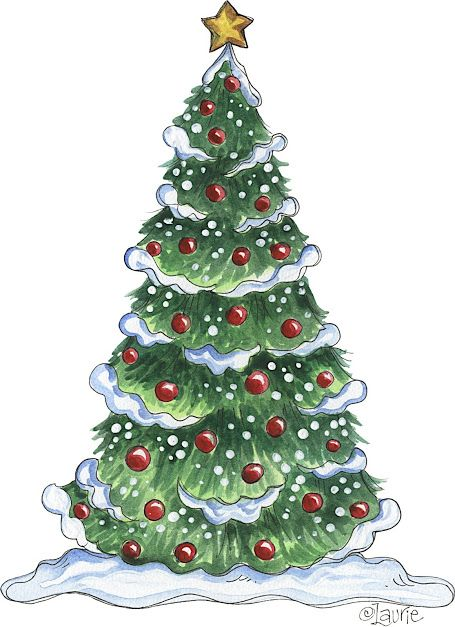 Snow And Ornament Laden Christmas Tree By Laurie Christmas Tree Clipart Christmas Paintings Christmas Illustration