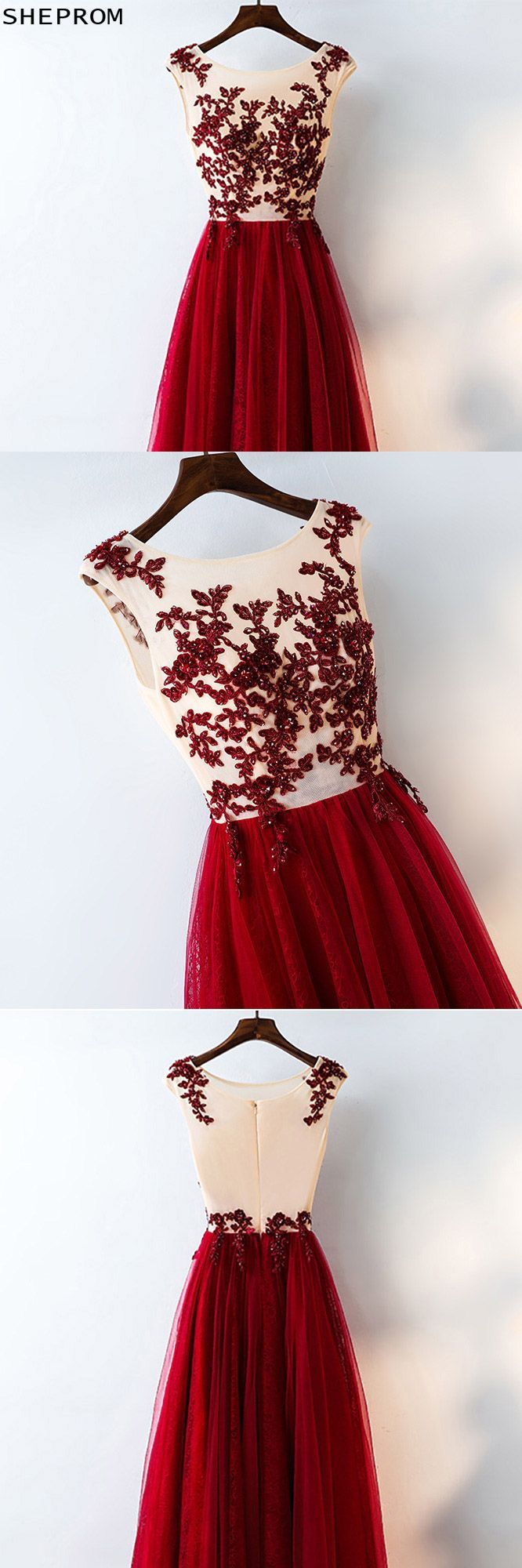 Formal red sequined tulle prom dress long with lace myx