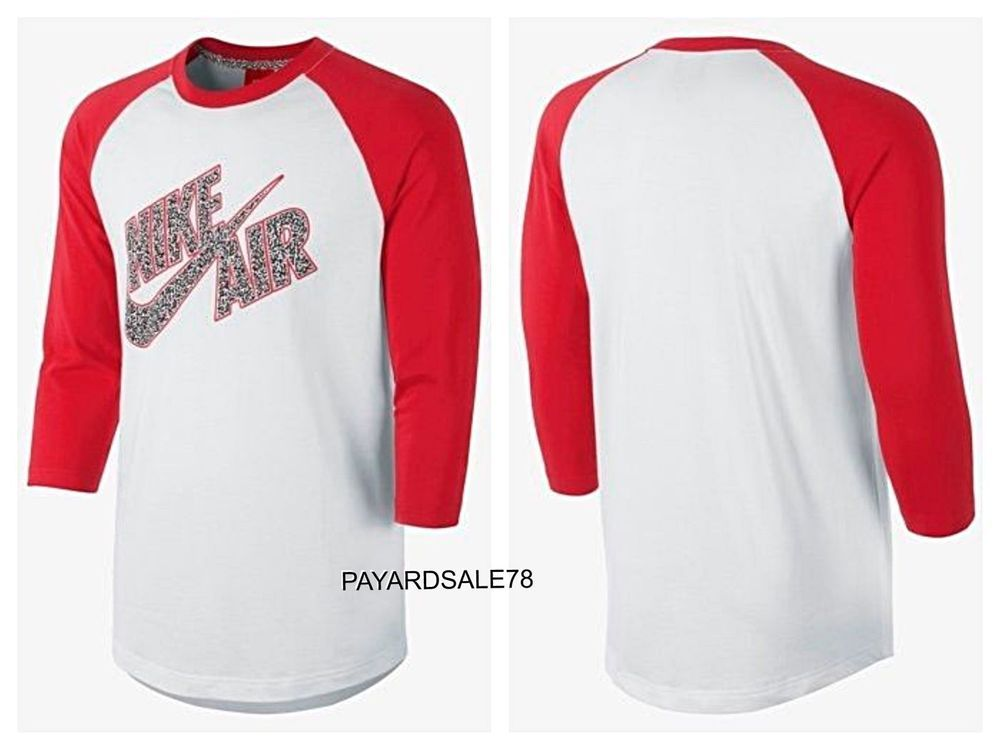 NEW MENS NIKE CROSSOVER RAGLAN TOP 607798-104 WHITE & UNIVERSITY RED SIZE  2XL #