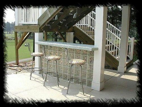 Glass Brick And Bar Glass Brick Hot Tub Backyard Glass Blocks Wall