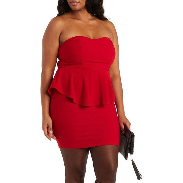 Charlotte Russe Plus Size Red Strapless Peplum Tube Dress By