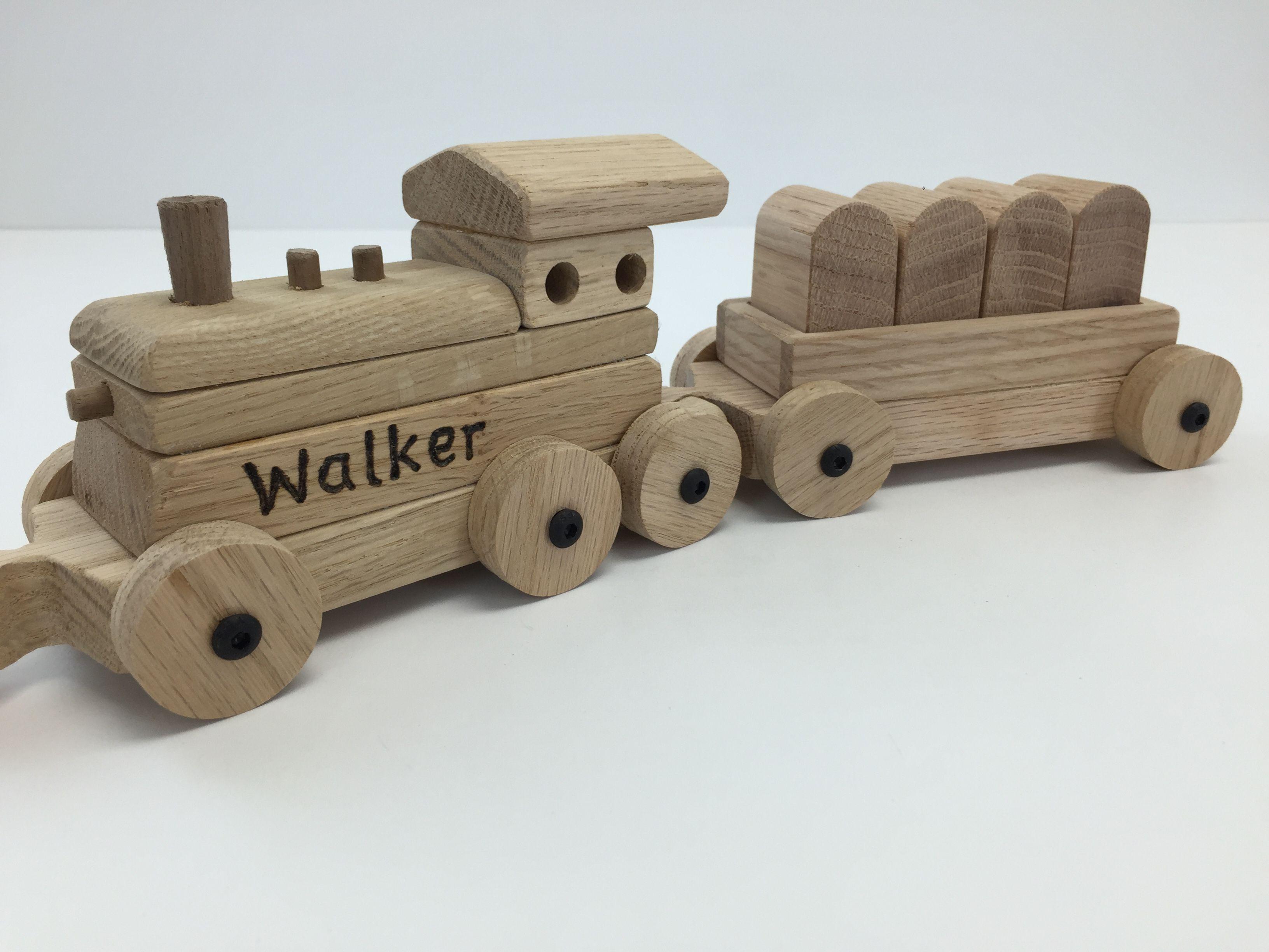personalized oak cherry and black walnut toy train set with