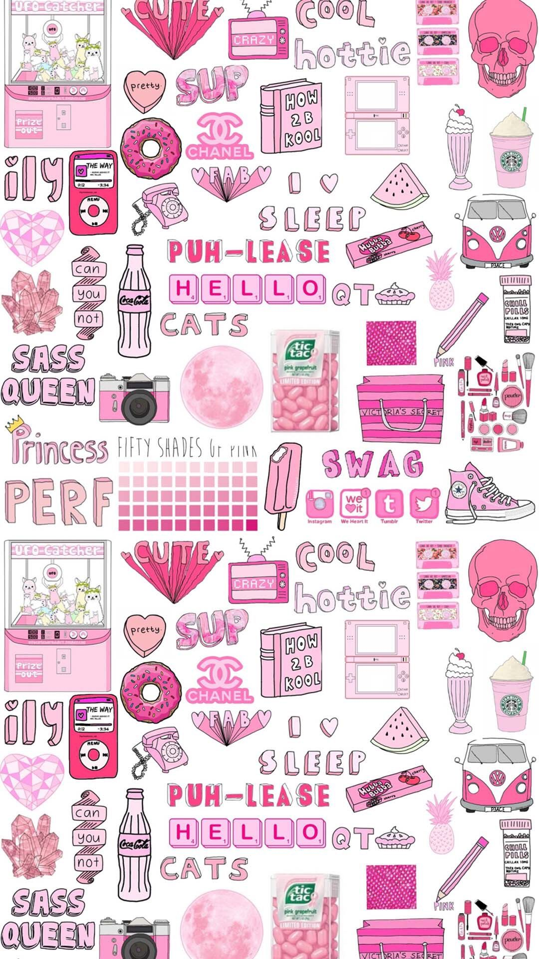 Pink Doodles Cute Backgrounds For Girls Tumblr Stickers Emoji Backgrounds