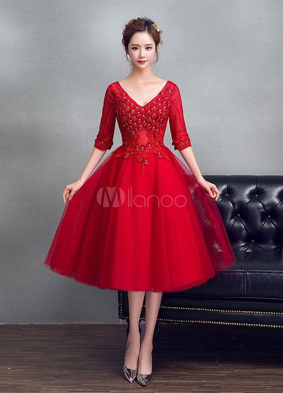 c7b77bb8f67 Tulle Prom Dress Burgundy Beading Flower Graduation Dress V Neck A Line Half  Sleeve Tea Length Party Dress