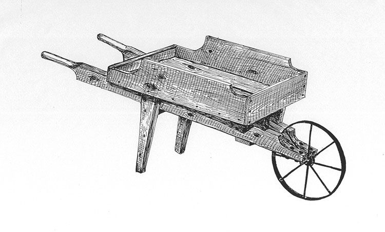 Old fashioned wooden wooden wheelbarrow wheels and gardens for Old blueprints for sale