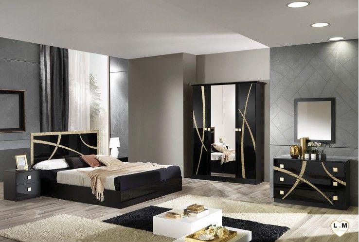 Amazonie Laque Noir Et Dore Ensemble Chambre A Coucher Bedroom