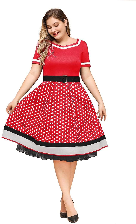 misshow damen rockabilly kleider große größe 1950er retro