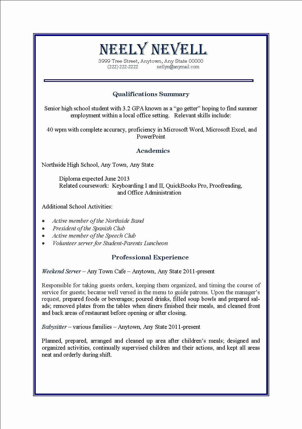 First Time Job Resume Beautiful High School Student First
