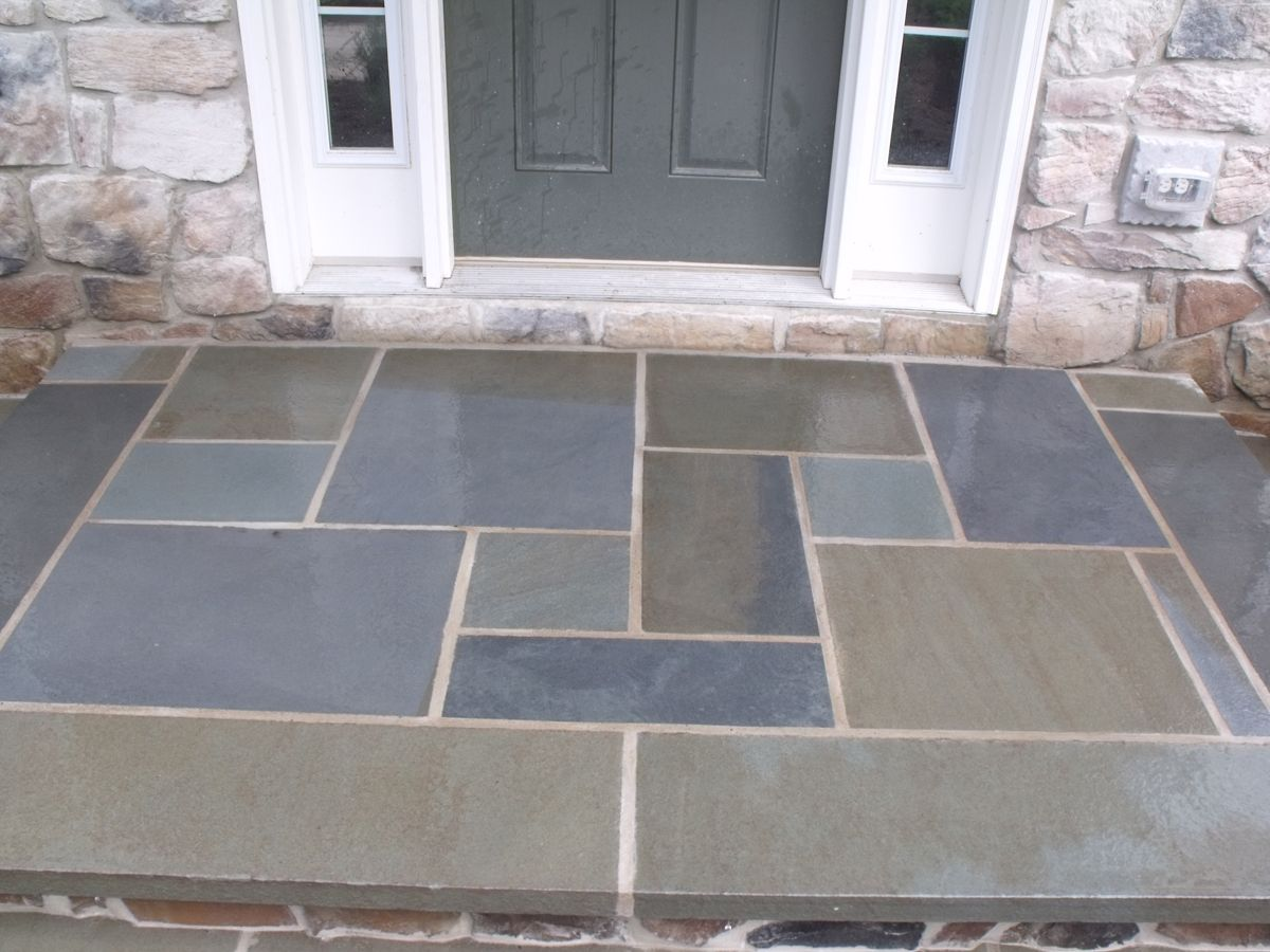 Got this look for significantly less by using 1 2 for Bluestone flooring