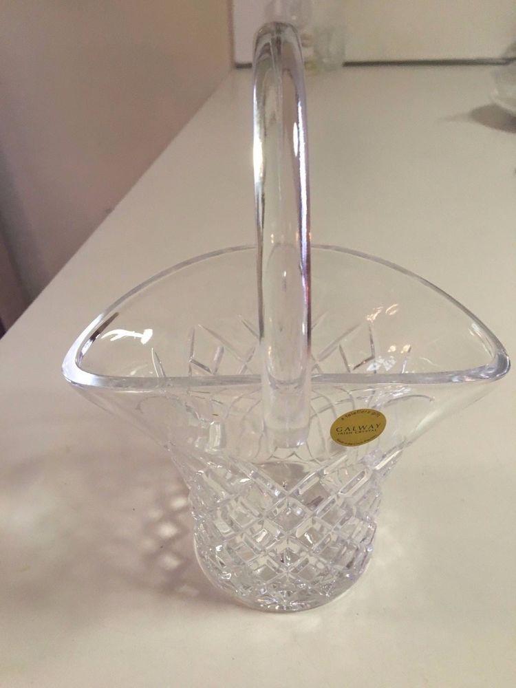 Galway Irish Crystal 24 Diamond Cut Basket Teleflora Vase Made