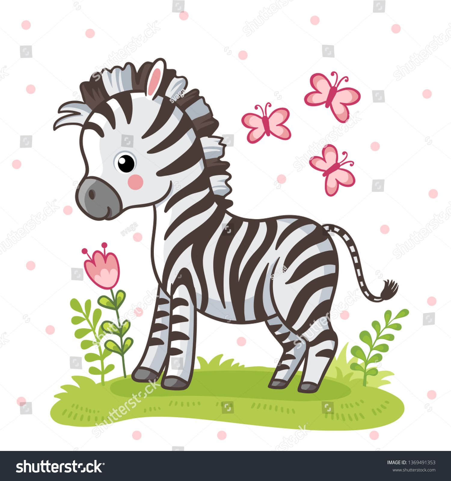 Zebra Standing On A Flower Meadow Cute African Animal In Cartoon Style Vector Illustration Image Vector Zebra Cartoon Zebra Drawing Cute Cartoon Animals