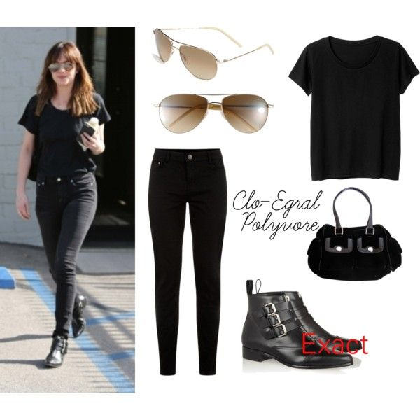 Dakota Johnson by clo-egral on Polyvore featuring mode, Monki, Tabitha Simmons, Versace and Oliver Peoples