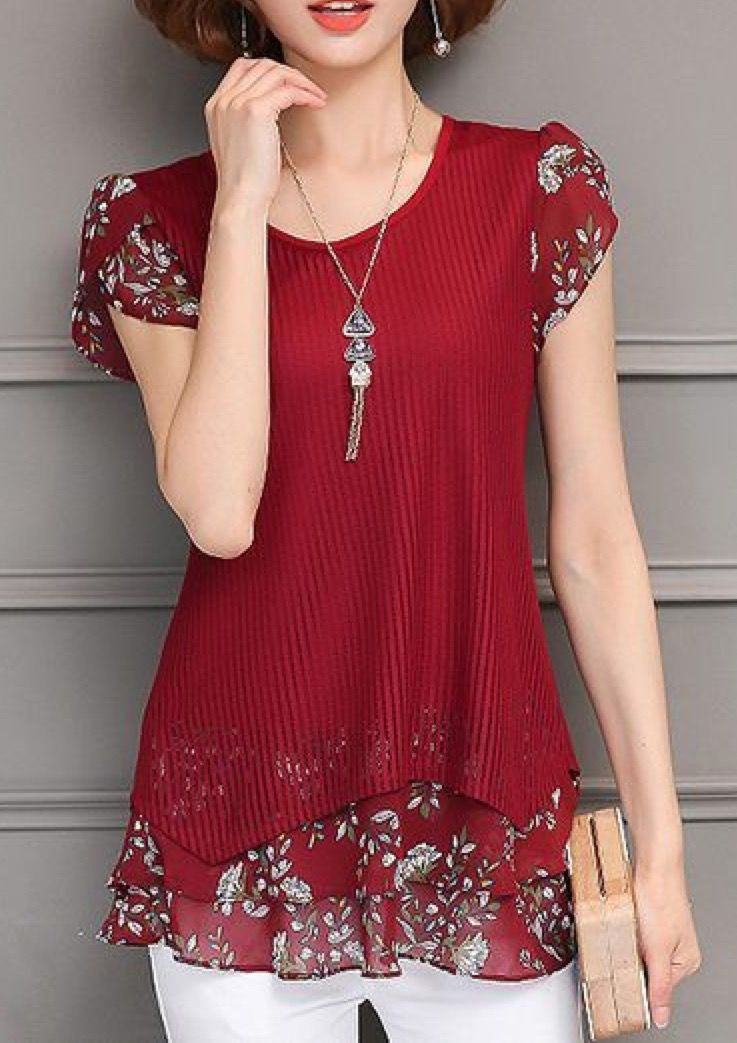 Top For Summer Styles Printed Blouse Fashion Clothes