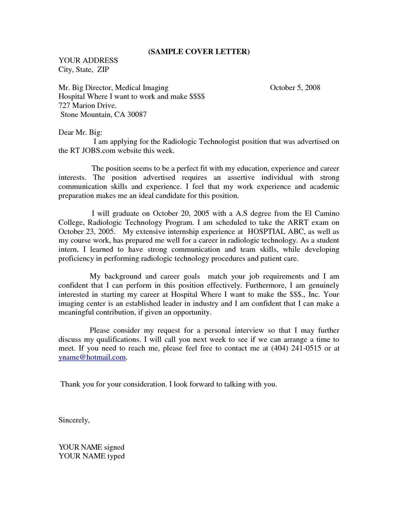 X Ray Tech Cover Letter Template | Cover Letter Template | Pinterest ...