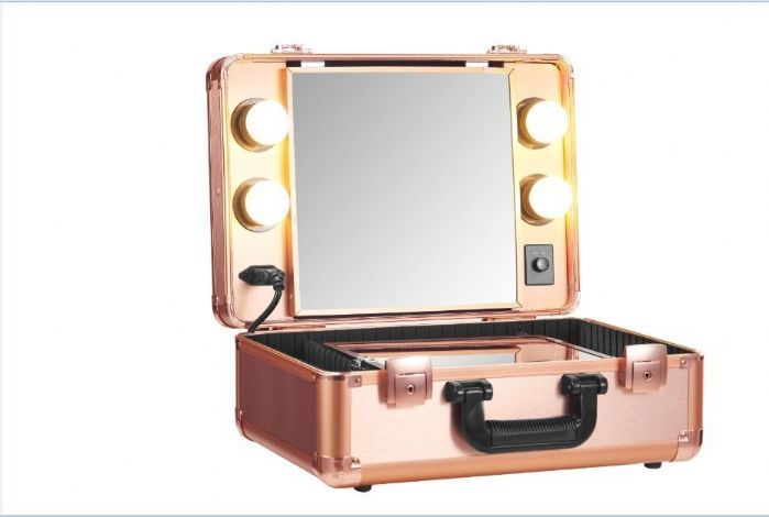 Small Rose Gold Vanity Trolley Makeup Trolley Case Led