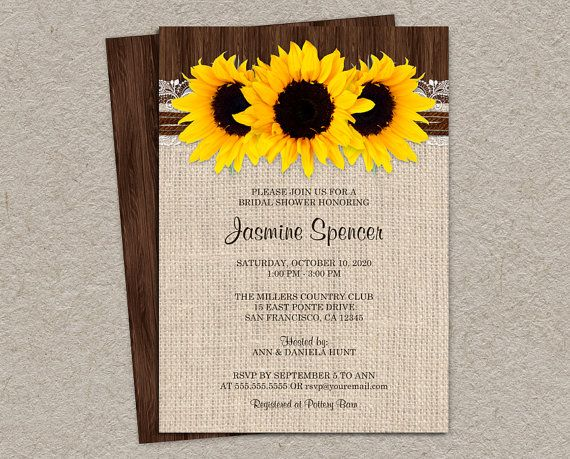 Sunflower Bridal Shower Invitations Printable Rustic