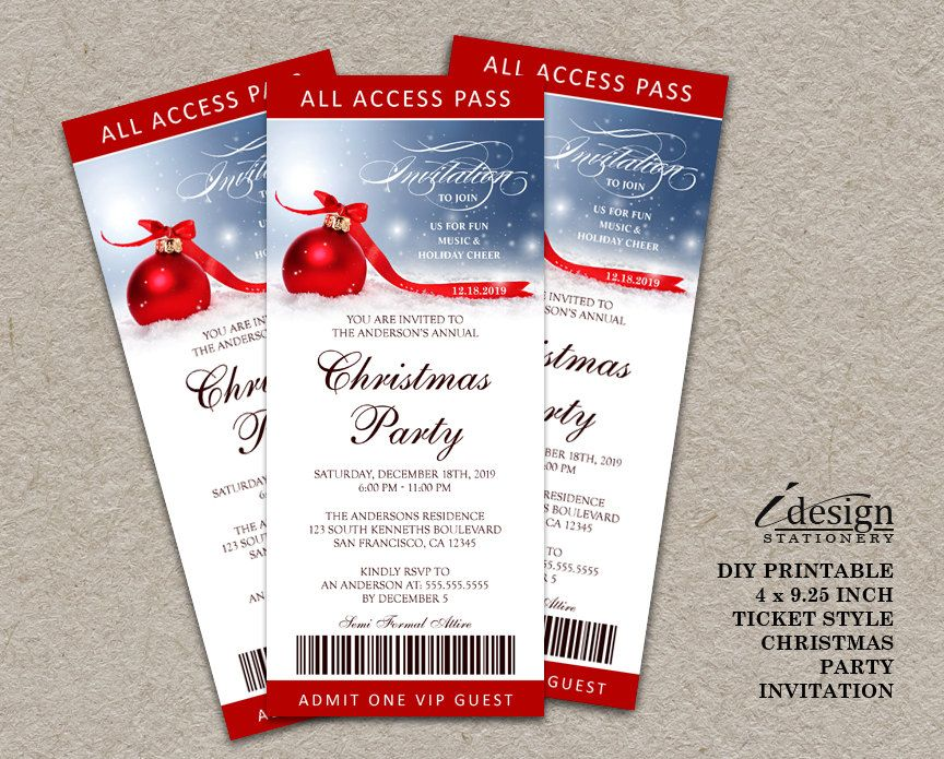 Holiday Party Ticket Invitations Printable Ticket Style Christmas