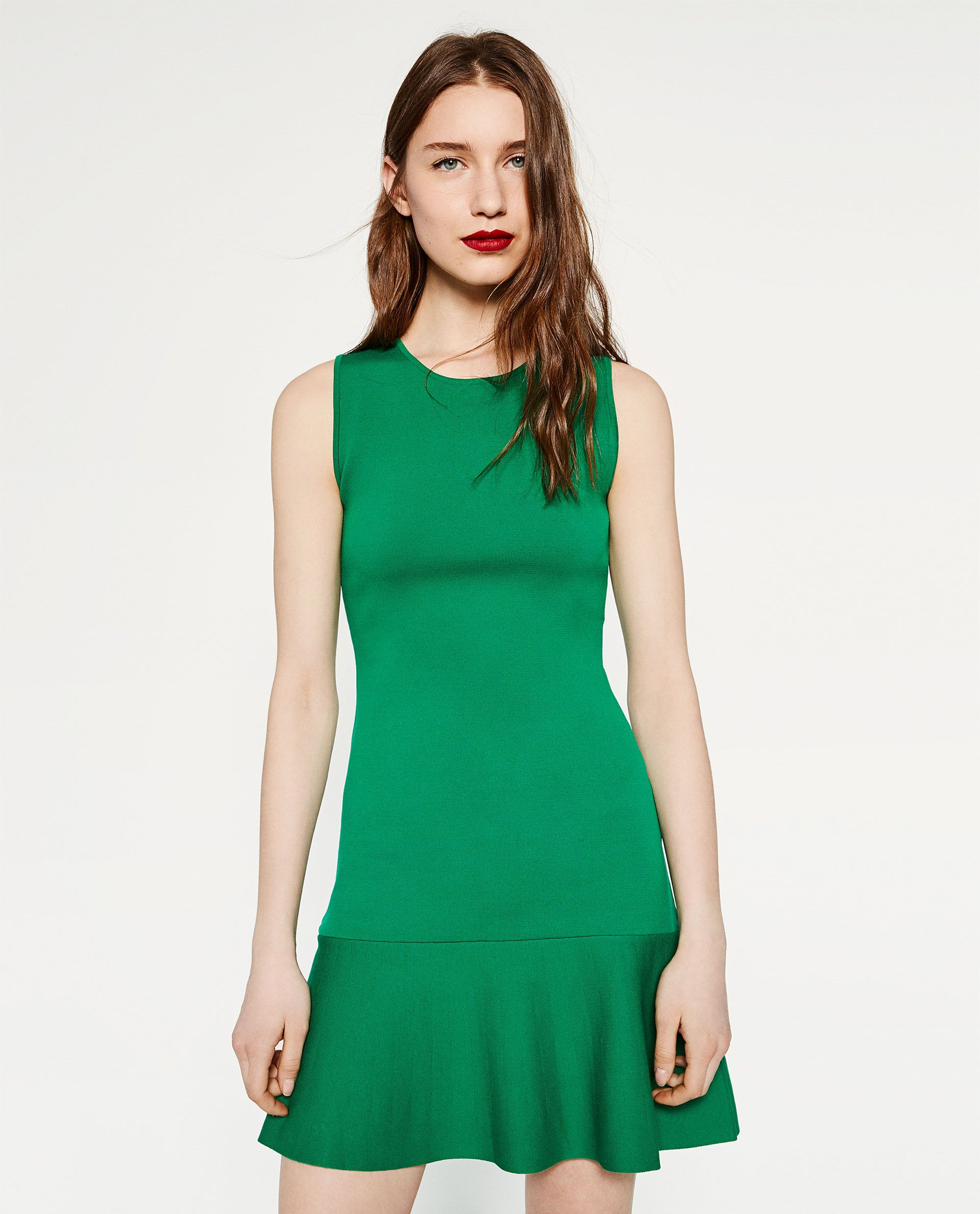 6ce4c50c604e7 Vestido com folho (verde)  ZARA (29,95€)   vestidos mercatto   Pinterest