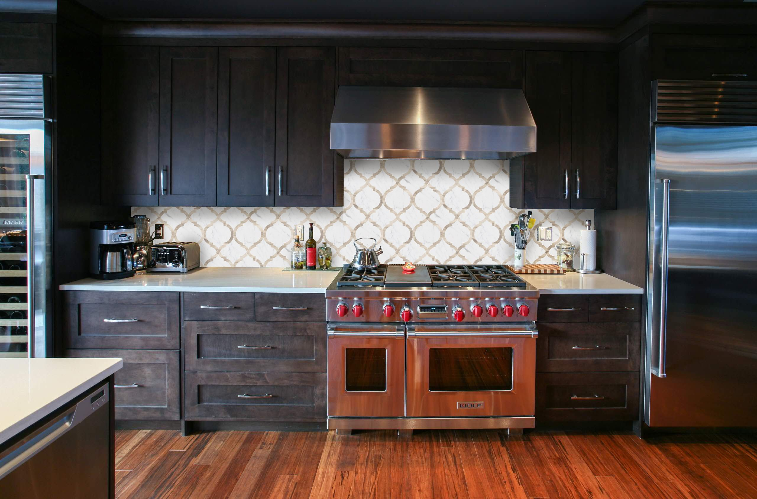 Kitchen Backsplash Dark Wood Cabinets arabesque tile design. kitchen backsplash. waterjet. water jet