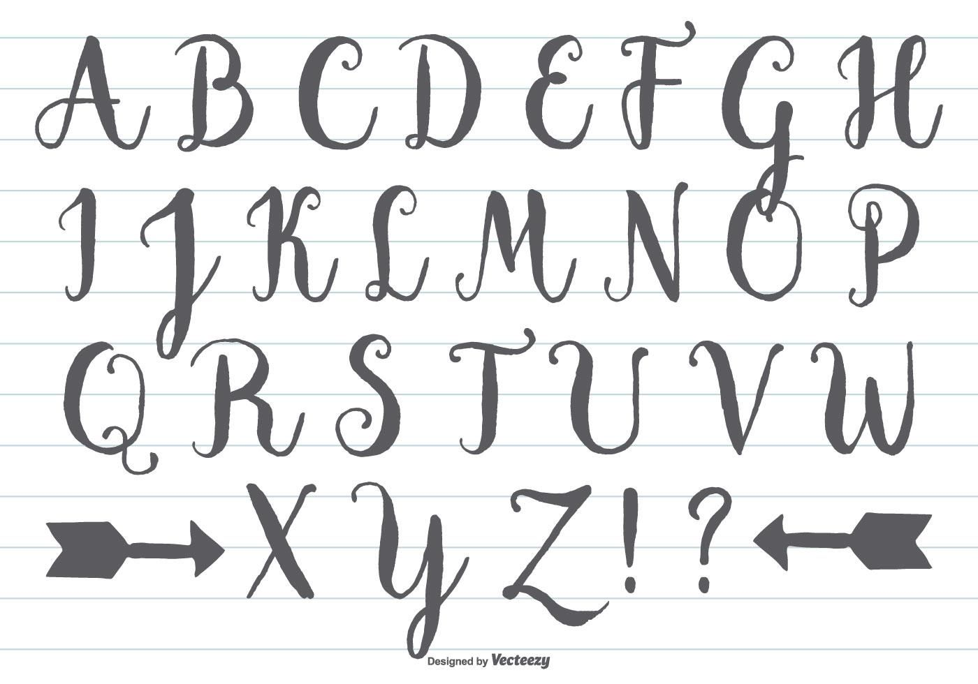 Hand Drawn Calligraphic Alphabet In