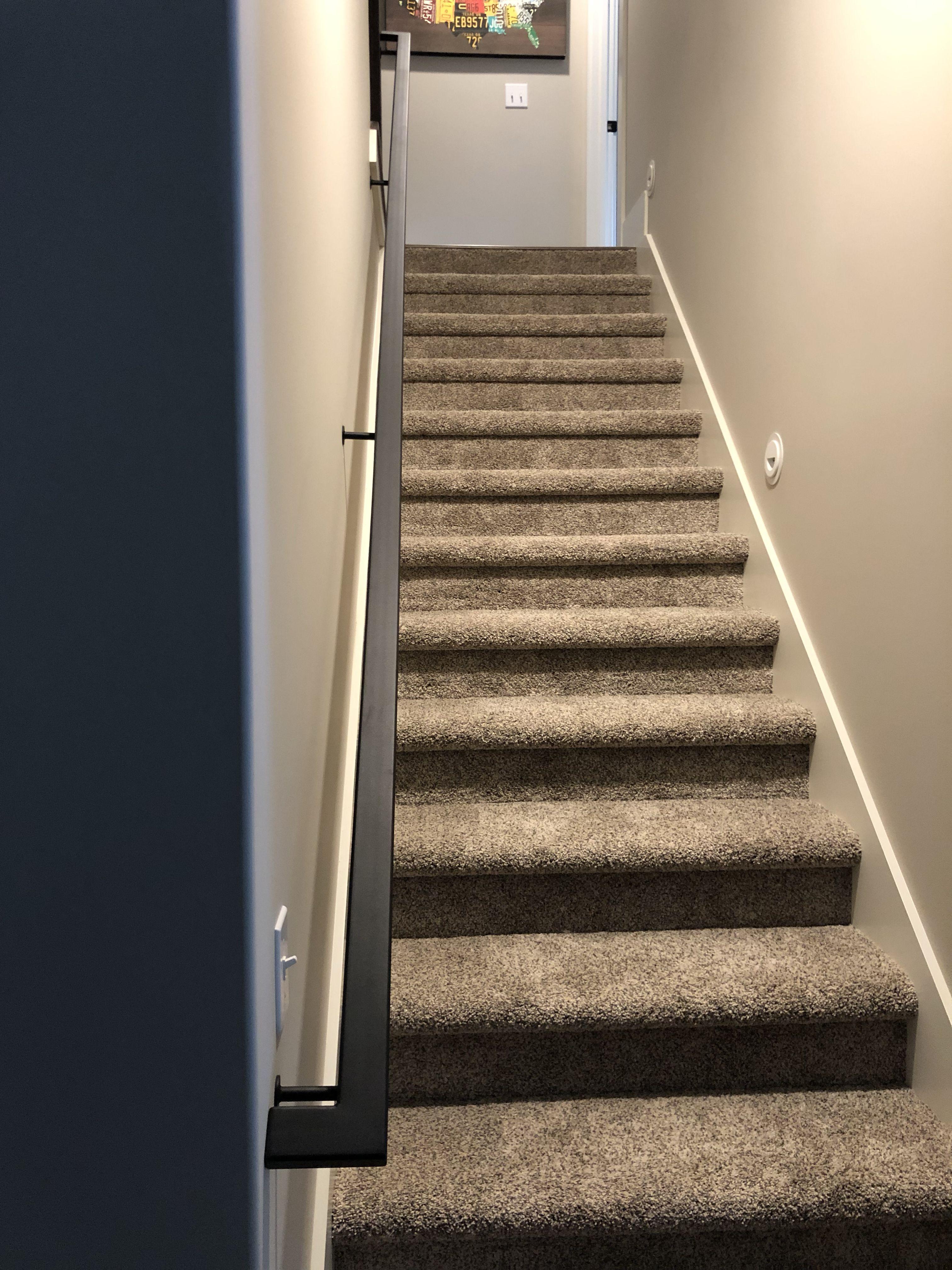 Best Black Powder Coated Handrail With Custom Mounts Metal Stair Railing Metal Handrails 400 x 300