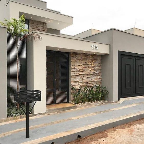 Fachadas de Casas Térreas: materiais, dicas + 15 exemplos LINDOS! #casa