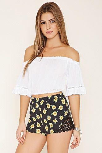 Crocheted Sunflower Shorts