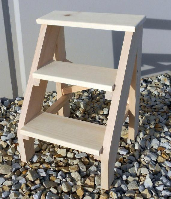 Surprising Handcrafted Pine Three Step Stool Unfinished Pabps2019 Chair Design Images Pabps2019Com