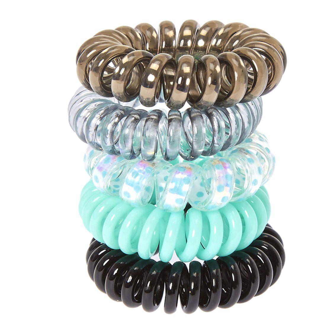 Mint Metallic Coiled Hair Ties  e04377114bc