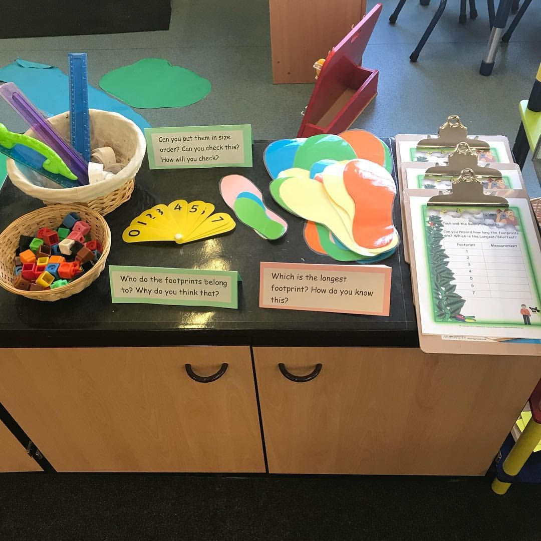 Measuring Footprints Who Do They Belong To Measurement Jack And The Beanstalk Eyfsmaths