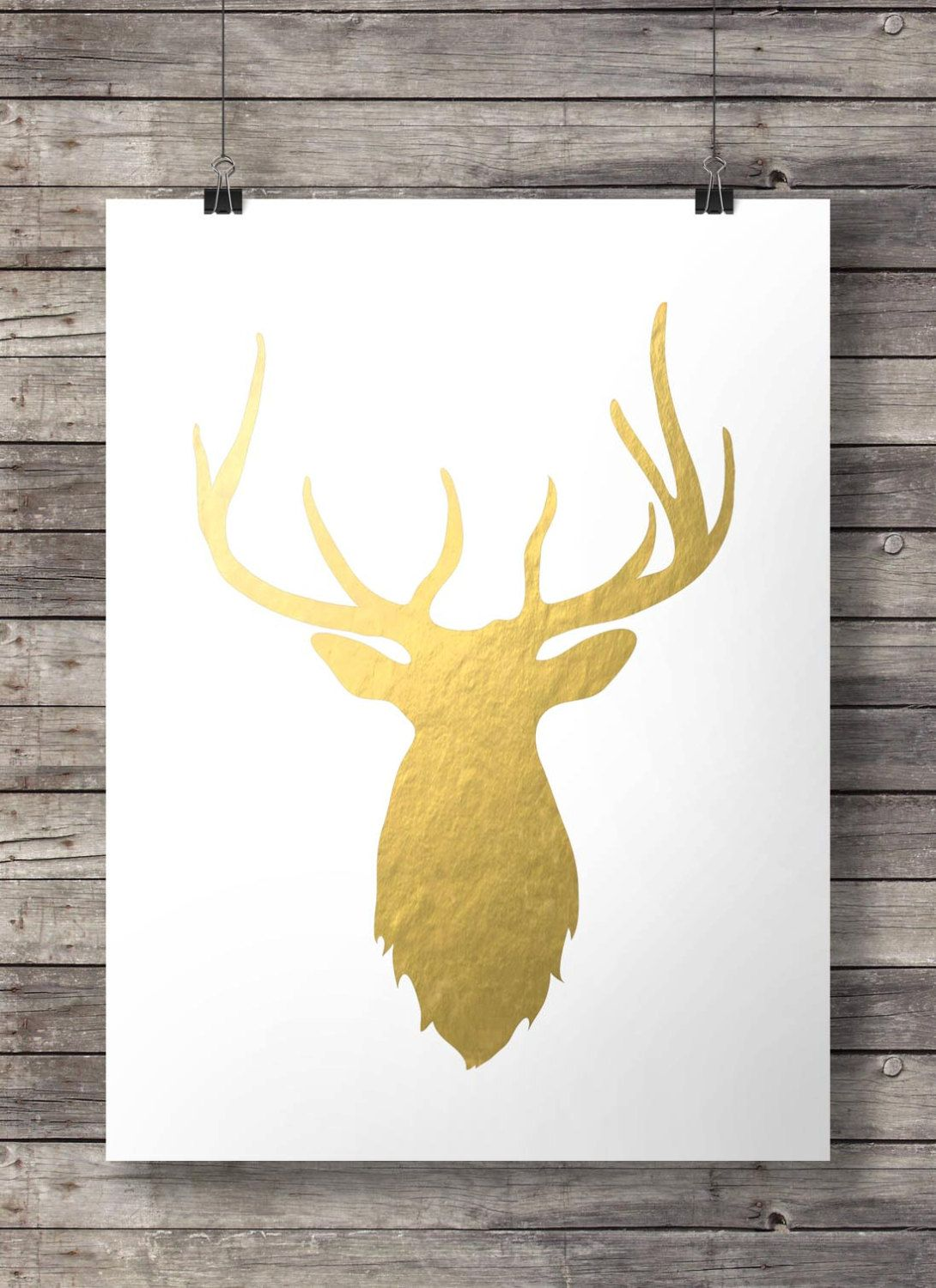 Faux gold foil Stag head print | Stag deer antlers gold foil ...