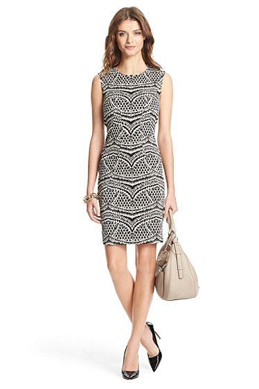 7aa35414cf Pentra Woven Sheath Dress In Black  Ecru