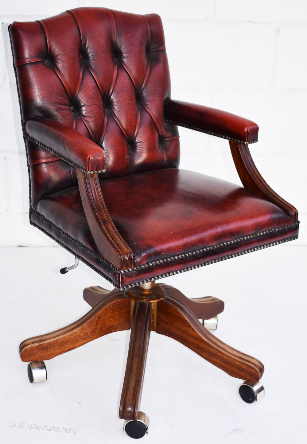 Red Leather Office Chair 2020 In 2020 Vintage Desk Chair Vintage Office Chair Chair
