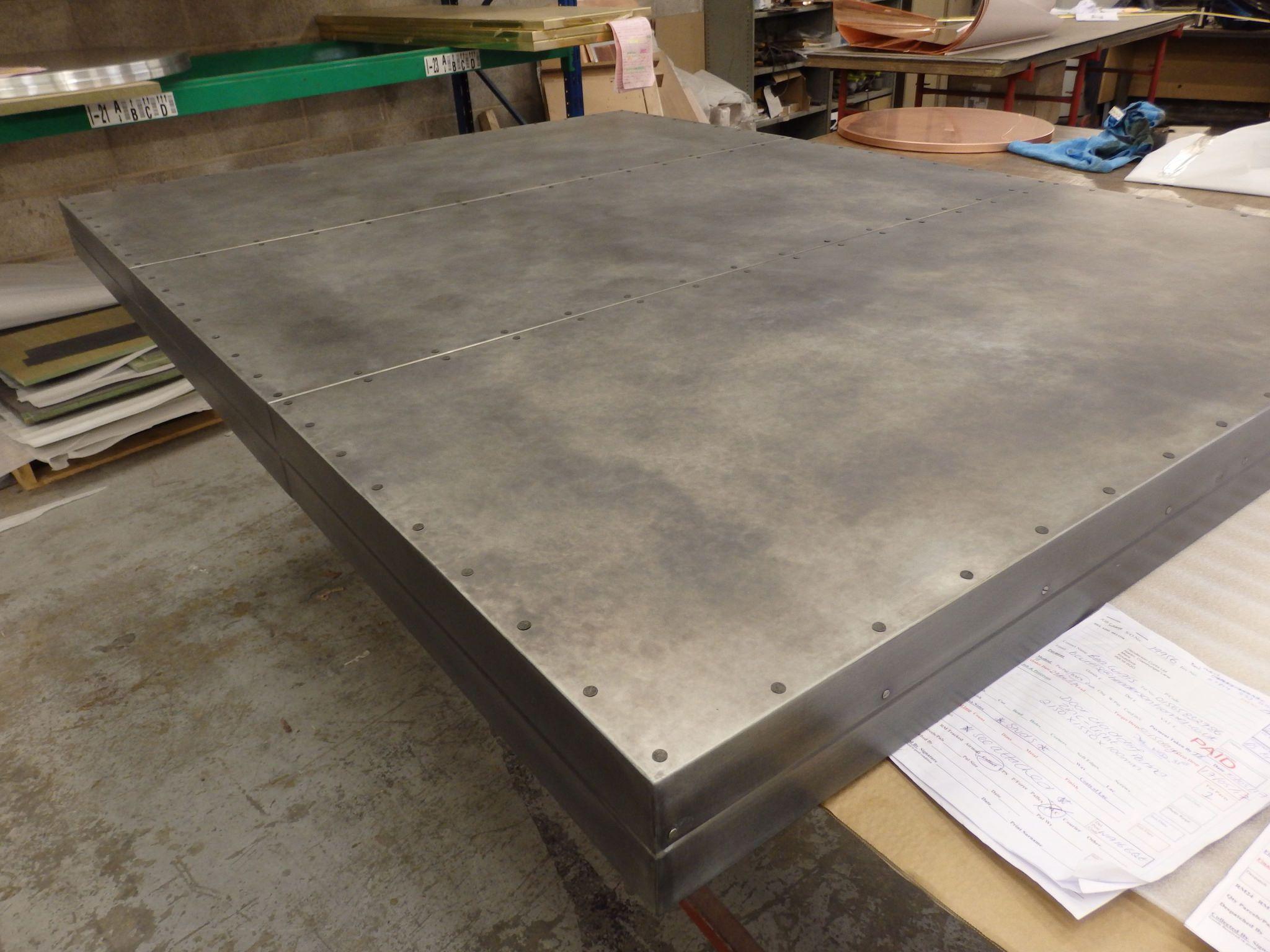 186 Large Zinc Clad Door Light Patina Flat Studs Metal Countertops Zinc Countertops Zinc Table