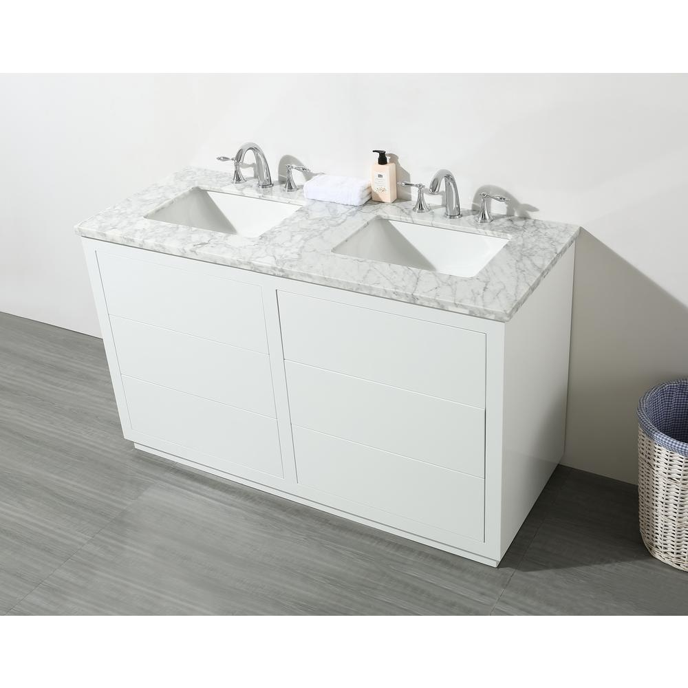Stufurhome Lang 56 In Bath Vanity In White With White Marble Vanity Top In White With White Basin Sl 0024 56 Cr Double Vanity Bathroom Marble Vanity Tops