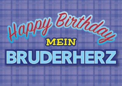 Happy Birthday Mein Bruderherz Postkarte Bruder Geburtstag