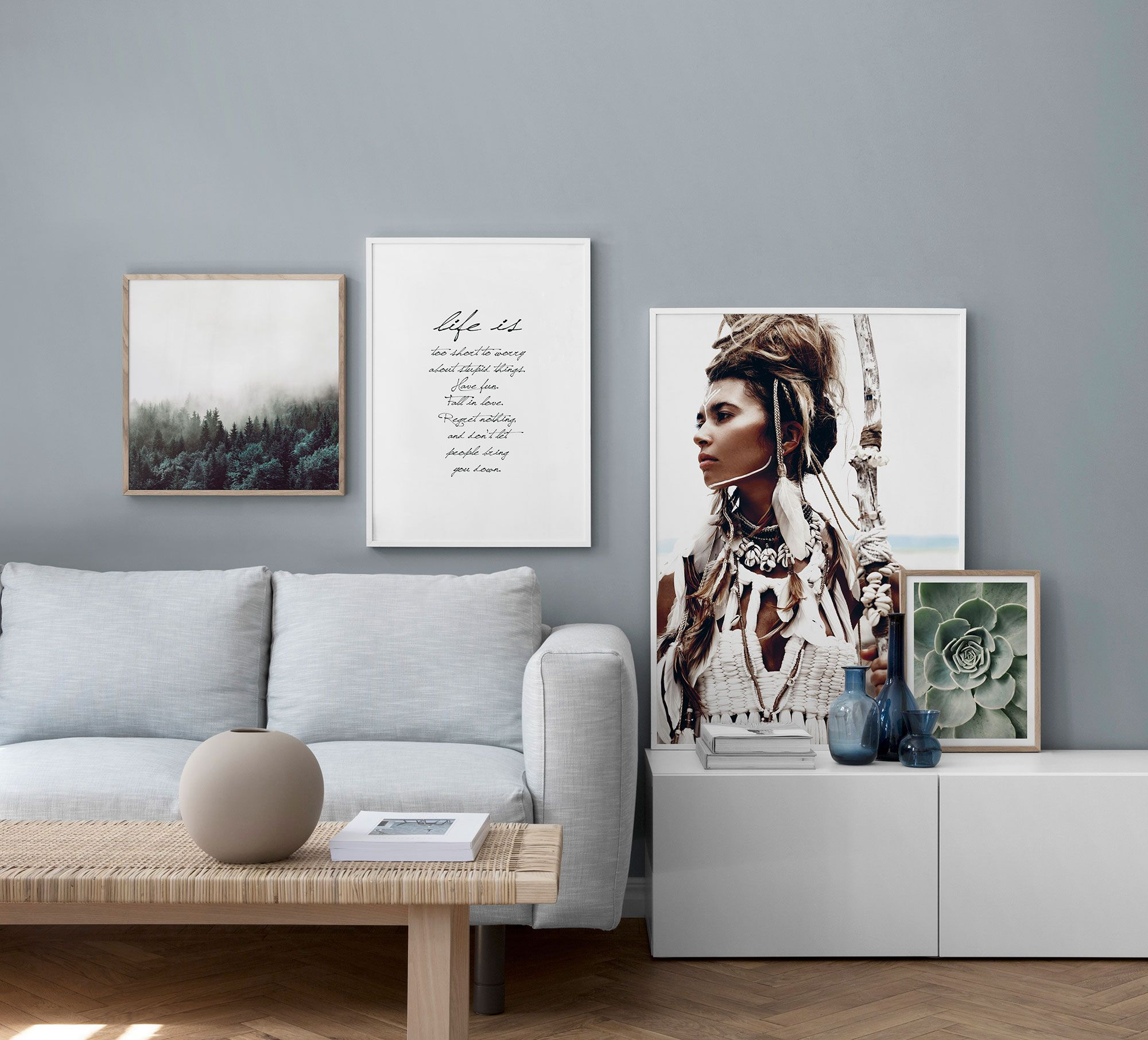 Modern urban grey living room Desenio wall gallery IKEA