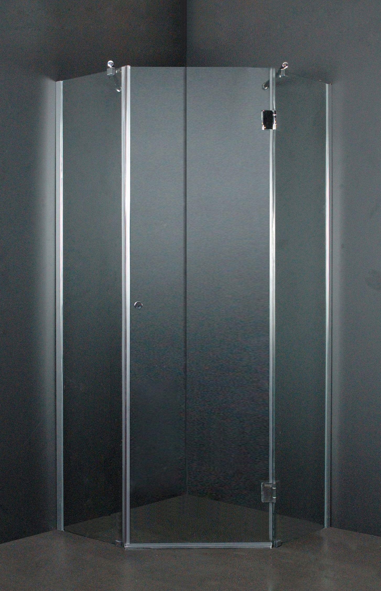 de douchecabine heeft een aluminium profiel verchroomde ronde
