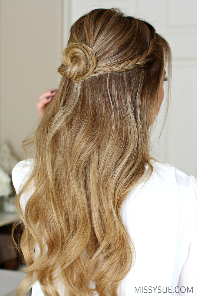 Half Up Braid Wrapped Bun Missy Sue Prom Hairstyles For Long Hair Half Bun Hairstyles Homecoming Hairstyles