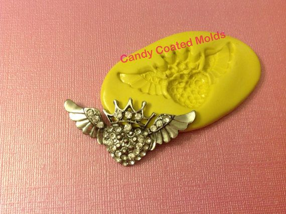 Jeweled Crown and Wings (001) Flexible Mold/Mould for Decorating