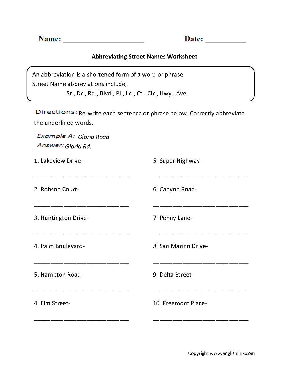 small resolution of Englishlinx.com   Abbreviations Worksheets   2nd grade worksheets