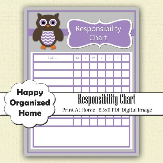 Instant Download Responsibility Chart For By