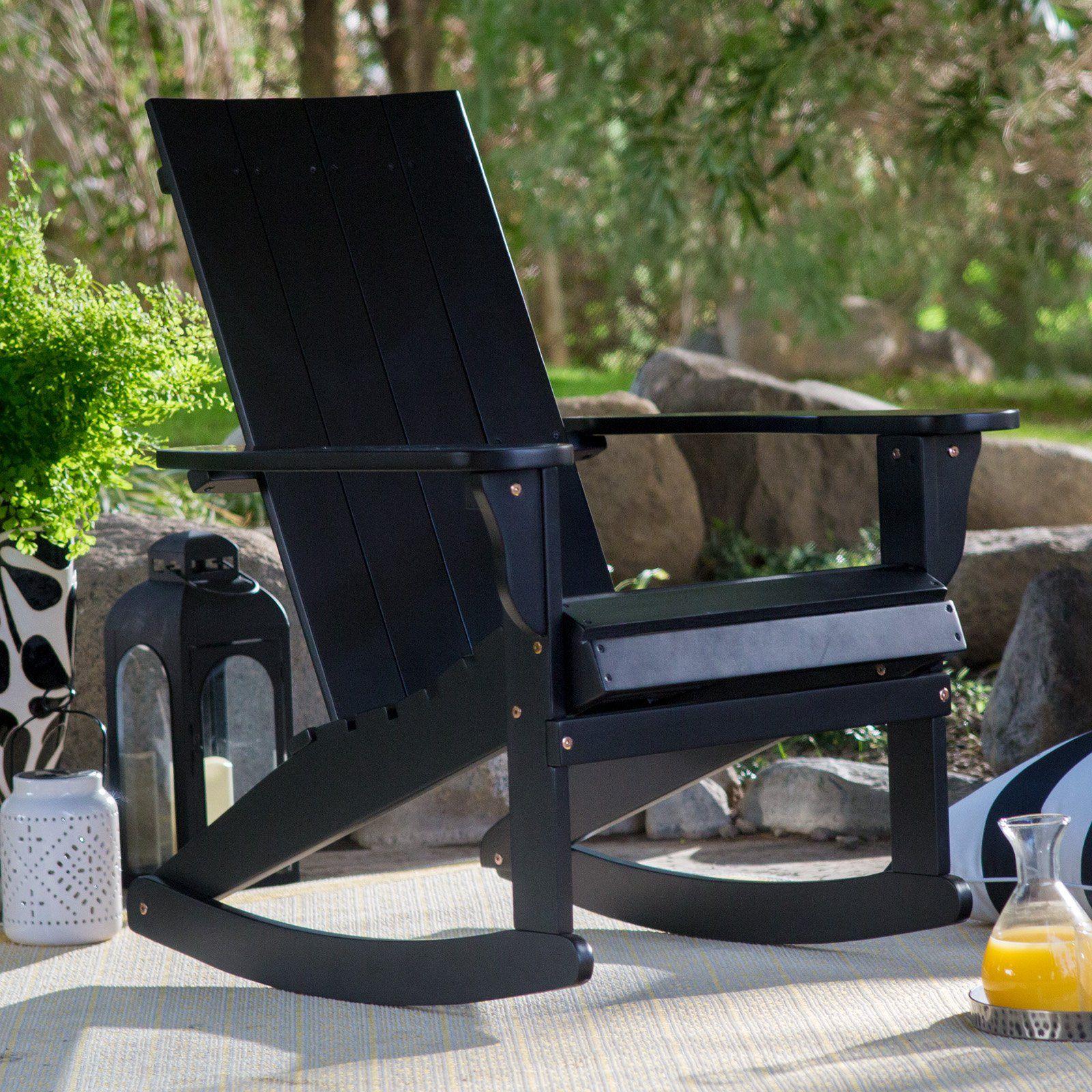 Belham Living Portside Modern Adirondack Rocking Chair Black