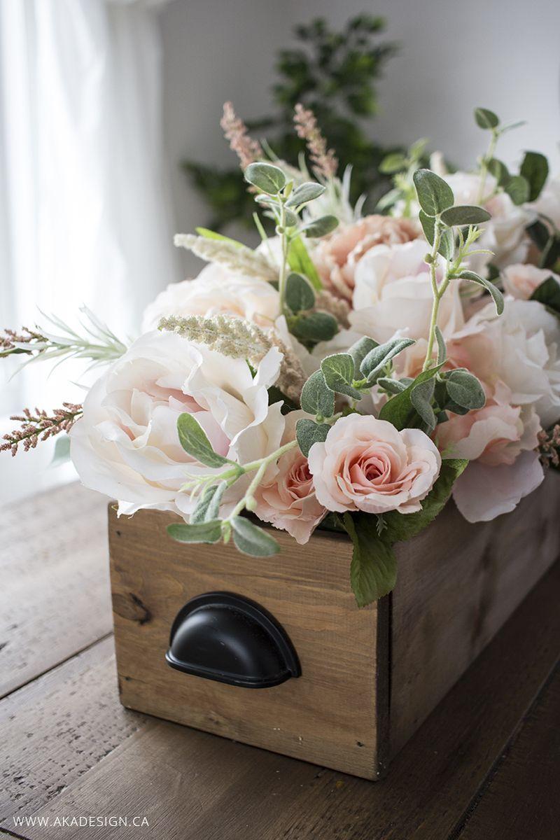 DIY Faux Floral Arrangement Feminine Yet Rustic Crate I
