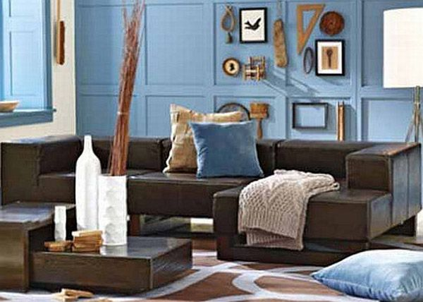 sweet masculine in brown and blue living room | new house