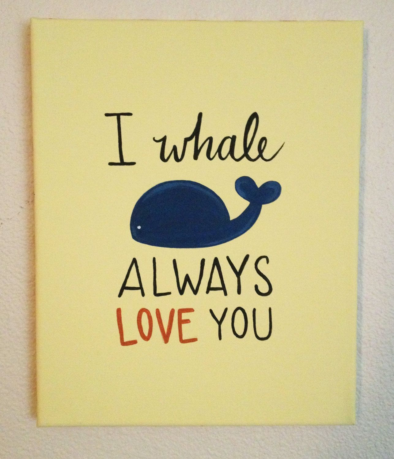 I Whale Always Love You Hand Painted Wall Art | Walls, Etsy and Babies