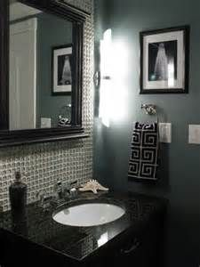 Clear glass tile the thick pillow style from home depot special order set with snow white grout smokestack gray by benjamin moore walls also dior powder room bathroom pinterest